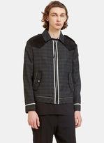 Lanvin Men's Suede Yoke Geometric Creased Jacket In Grey