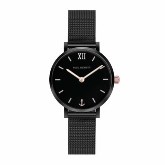 PAUL HEWITT Sailor Line Modest Black Sunray - Black Stainless Steel Watch for Women with Black Meshband