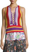 Roberto Cavalli Lace-Up Striped Crochet Tank, Multi