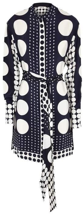 Diane von Furstenberg Navy Printed Silk Shirt Dress