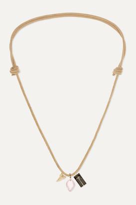 Dezso by Sara Beltrán Leather, 18-karat Rose Gold, Rose Quartz And Enamel Necklace - one size