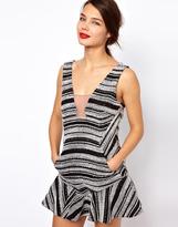 Three floor Short Cut Stripe Dress With Deep V Back