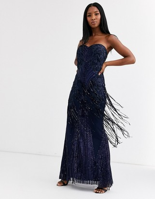 Goddiva bandeau fringe sequin maxi dress in navy-Cream