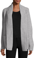 Neiman Marcus Ribbed Novelty-Stitched Cardigan, Gray
