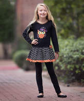 Orange & Black Owl Dress & Leggings - Infant, Toddler & Girls
