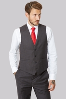 Moss Bros Tailored Fit Brown Textured Waistcoat