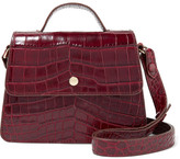 Elizabeth and James Eloise Mini Suede-trimmed Croc-effect Leather Shoulder Bag - Burgundy