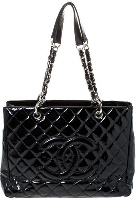 Chanel Black Quilted Patent Leather Grand Shopping Tote