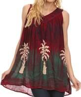 Sakkas 89 - Loonmiya Long Tall Embroidered Batik Sleeveless Tank Top Shirt Blouse Top - OS