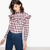 School Rag Checked Ruffled Blouse