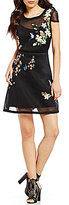 GUESS Lyana Floral Embroidered Sheer-Overlay A-line Dress