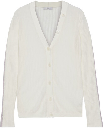 Joie Ribbed Wool And Silk-blend Cardigan