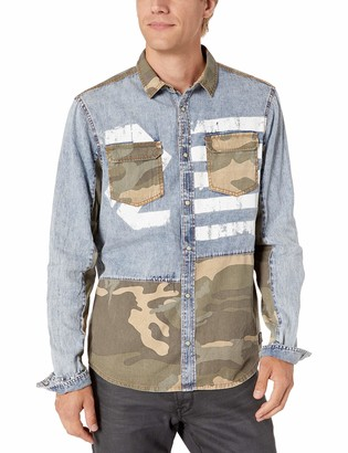 Buffalo David Bitton Men's Long Sleeve Light Denim Acid wash Shirt