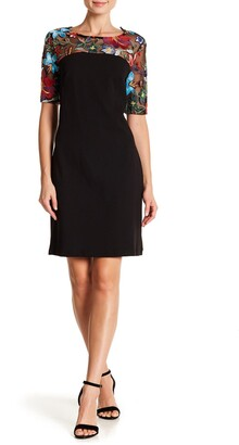 Nina Leonard Embroidered Lace Yoke Dress