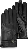 Moreschi Alaska Black Leather Men's Gloves w/Cashmere Lining