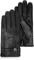 Moreschi Alaska Black Leather Men's Gloves w/Cashmere Lining
