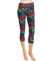 L.A. Gear Black & Rainbow Abstract Capri Leggings