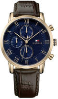 Tommy Hilfiger Gents Kane Multifunction IPRG Rnd Blu Dial Brn Leather Strap