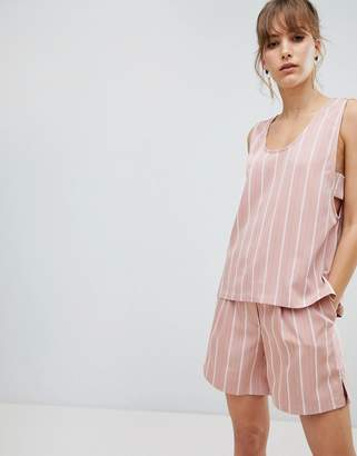Selected stripe sleeveless top Co-ord-Pink