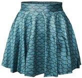 Jiayiqi Womens Wet Look Fish Scale Skater Skirt Tridimensional A-line Mini Skirt