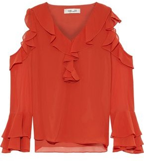 Diane von Furstenberg Essie Cold-shoulder Ruffled Chiffon Top
