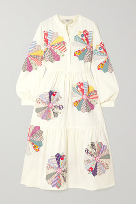 Sea Paloma Appliqued Cotton-gauze Midi Shirt Dress - White