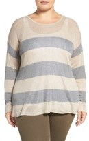 Eileen Fisher Stripe Round Neck Sweater (Plus Size)