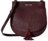 Just Cavalli Solid Pebbled Calf Skin Saddle Bag Cross Body Handbags
