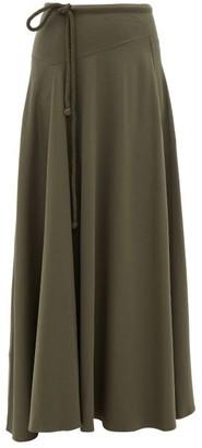 Lemaire Drawstring-waist Cotton-blend Maxi Skirt - Dark Grey