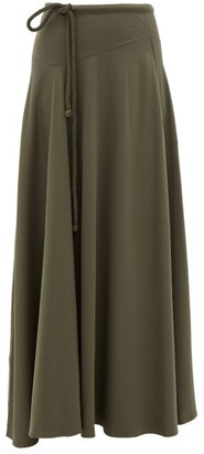 Lemaire Drawstring-waist Cotton-blend Maxi Skirt - Womens - Dark Grey