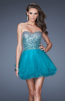 La Femme 19451 Sequined Sweetheart Ombre Cocktail Dress