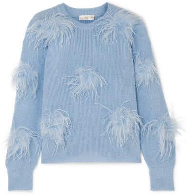 Stine Goya Candice Feather-embellished Knitted Sweater - Light blue