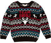 River Island Mini boys black Rudolf Christmas sweater
