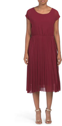 Made In Italy Cap Sleeve Pleated Dress