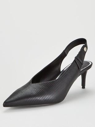 Very Sian Kitten Heel V-cut Slingback Point Court Shoes - Black