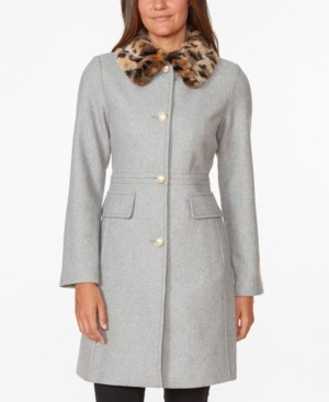 Kate Spade Leopard-Faux-Fur Collar Coat