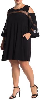 Nina Leonard Cold Shoulder Jewel Neck Miracle Dress