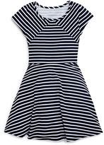 Aqua Girls' Flared Striped Knit Dress - Sizes S-XL