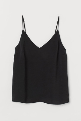 H&M Satin V-neck Camisole Top - Black