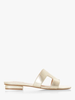 Dune Loupe Leather Flat Sandals, Gold