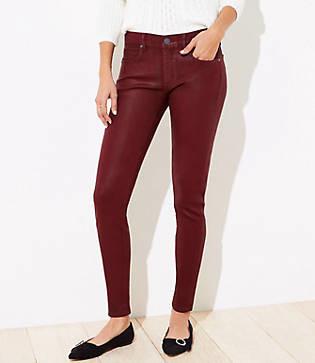 LOFT Petite Coated Slim Pocket Skinny Jeans in Red