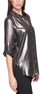 Calvin Klein Size Roll-Sleeve Metallic Shirt