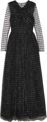 Jason Wu Twist-front Organza-appliqued Tulle Gown