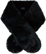 Simone Rocha faux fur floral beaded scarf
