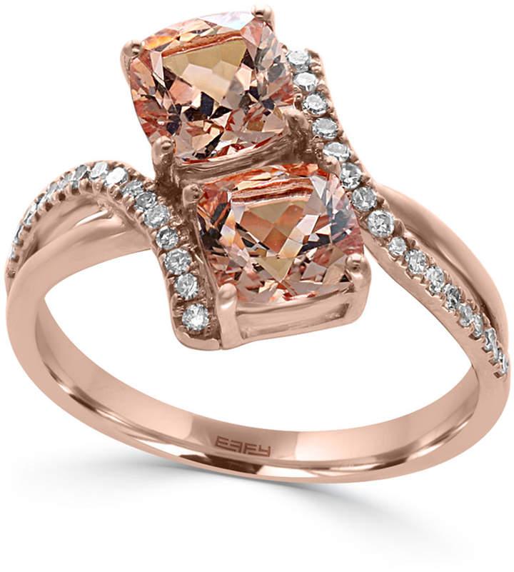 Effy Morganite (1-9/10 ct. t.w.) and Diamond (1/6 ct. t.w.) Ring in 14k Rose Gold