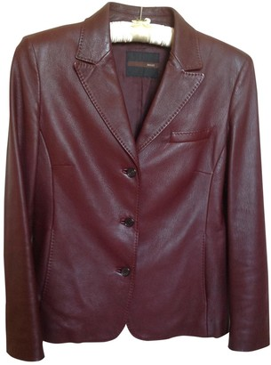 Bally Burgundy Leather Jacket for Women Vintage