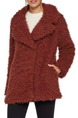 Vero Moda Notch Lapel Faux Fur Teddy Coat