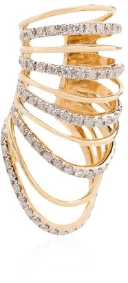 Yvonne Léon 18K yellow gold multi hoop diamond ear cuff