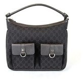 Gucci Brown Denim D-ring Abbey Hobo Handbag.