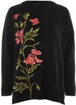 Topshop Floral Embroidered Jumper